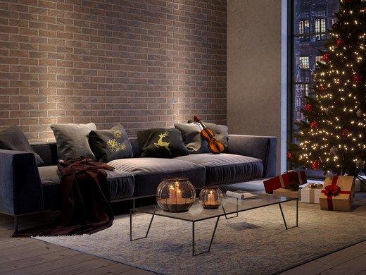 Новогодняя гостиная с клинкерной плиткой GRANVILLE
